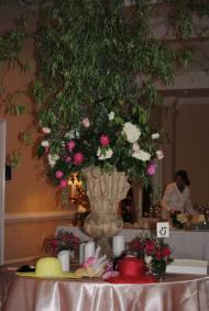 Hats and floral arrangements
