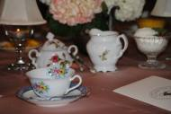 Cups and saucers from our hostess' private collection