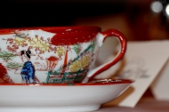 One of several unique tea cups provided from our hostess' private collection